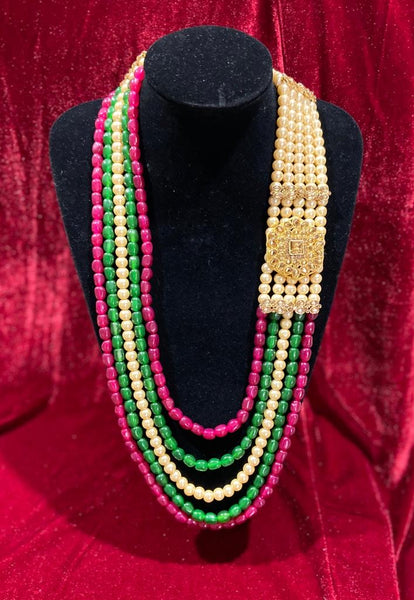 Tri-color Single Pendant Groom's Mala - Indian Wedding Bazar
