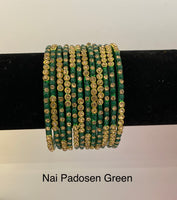 Nai Padosen Green Glass Bangles (1 dz)