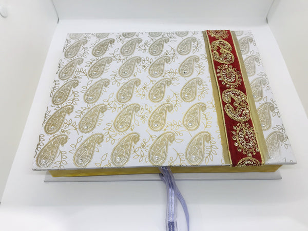 White paisley sweet box - Indian Wedding Bazar