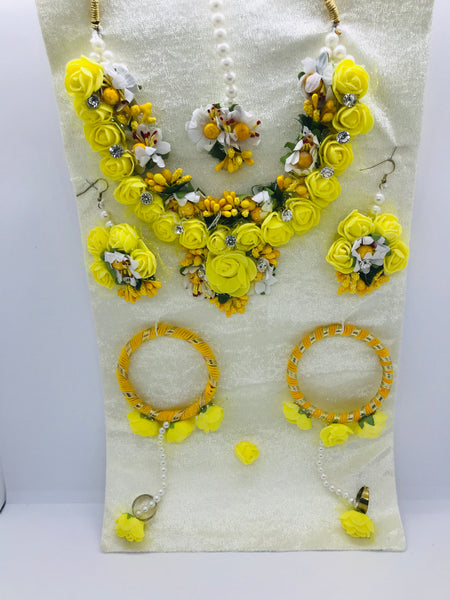 Yellow flower jewellery set - Indian Wedding Bazar