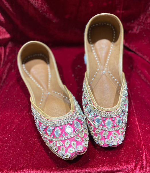 Punjabi Jutti Hot Pink - Indian Wedding Bazar