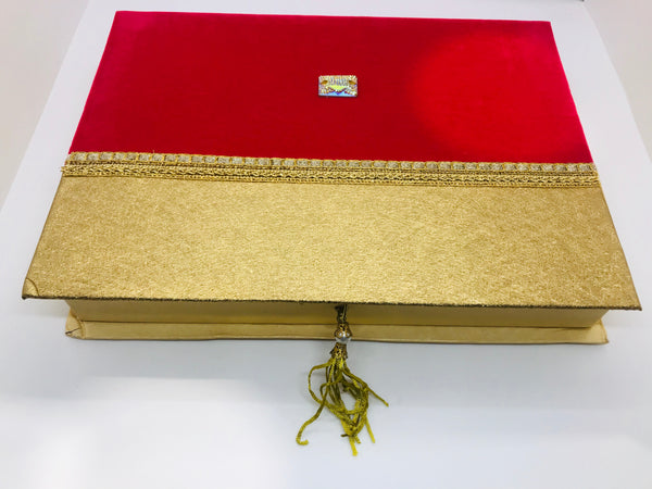 Red and golden Sweet box (large) - Indian Wedding Bazar