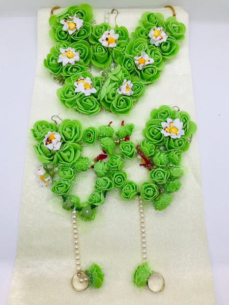 Flower jewellery set (green)