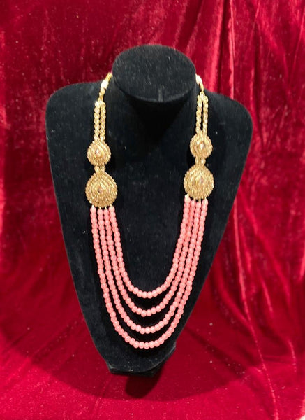 Peach Polki Groom's Mala - Indian Wedding Bazar