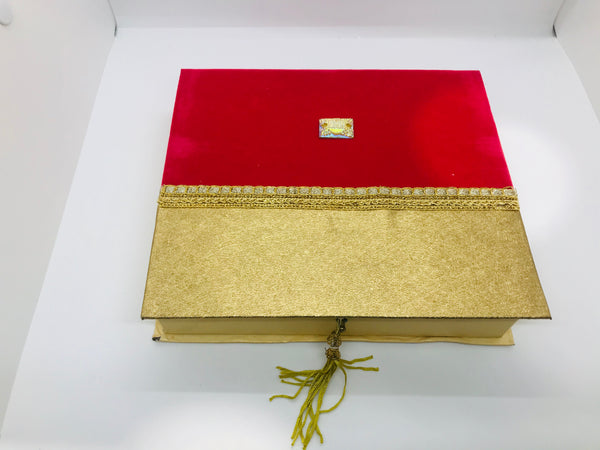 Red and golden sweet box (small) - Indian Wedding Bazar