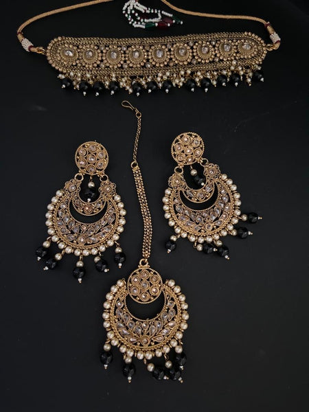 JESSICA Polki Choker Set in Black - Indian Wedding Bazar