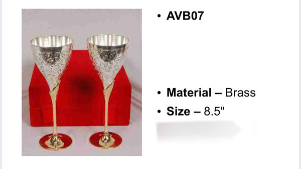 Silver plated broad wine glass set