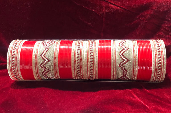 Red chura with silver and red embellishments - Indian Wedding Bazar