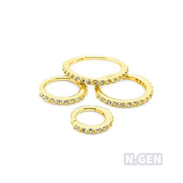 Gold CZ Hinged Segment Clicker 16g for Cartilage-316 l S. Steel