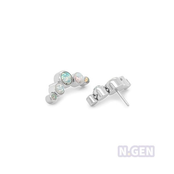 Crescent Cluster Opal w/ Push Pin -316L S. Steel