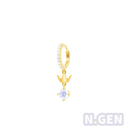 14K Gold CZ Hoop Earring with Crown Dangle