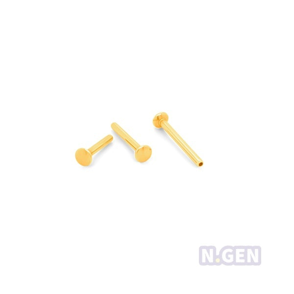 Gold 16g(1.2mm) Thredless Push In Labret Shaft Only-Gold Steel