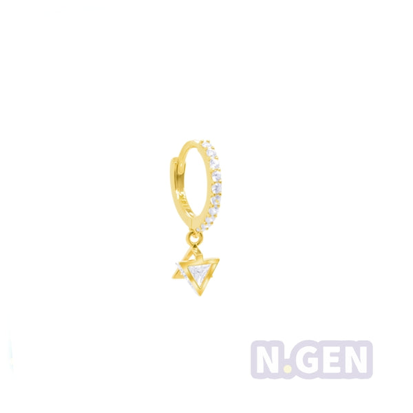 14K Gold CZ Hoop Earring with Star Dangle