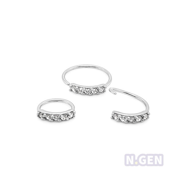 Nose Hoop 20g Flexible 5 CZ Prong Set-316L S. Steel