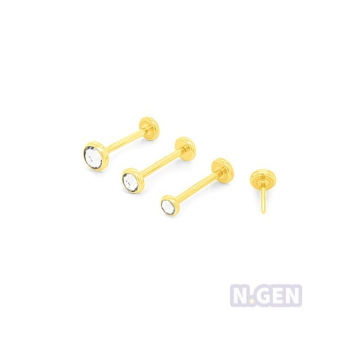 Gold Bezel Set Bottom Push-Back Labret 20g(0.8mm)-316L Surgical Steel