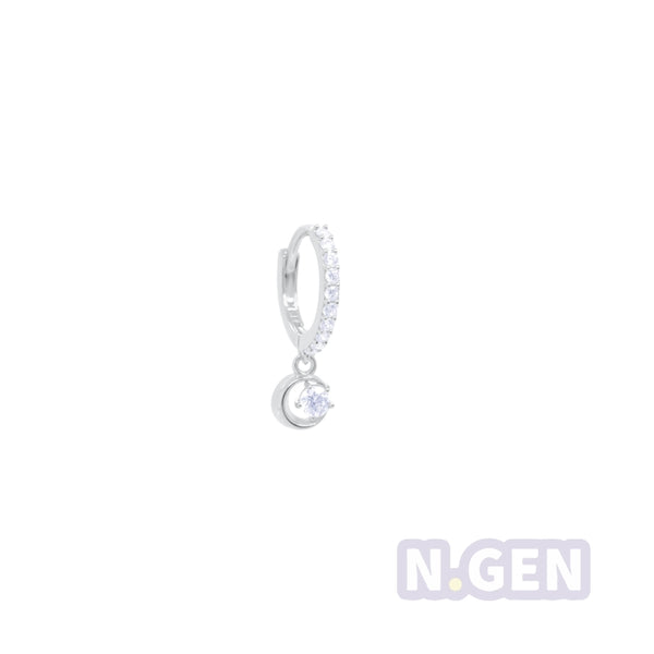 14K Gold CZ Hoop Earring with Crescent Dangle