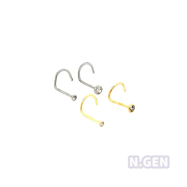 Nose Screw 22g-316lL S. Steel**4psc/pack