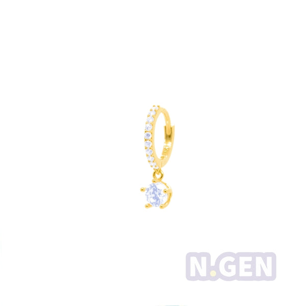 14K Gold CZ Hoop Earring with CZ Dangle