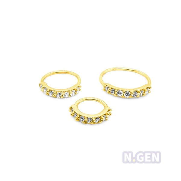 Gold Nose Hoop 20g Flexible 7 CZ Prong Set-Gold Steel