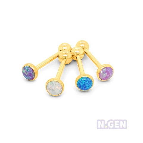 Gold Opal Barbell-Gold Steel