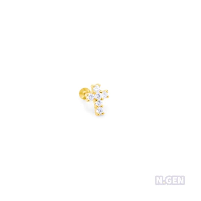 14K Gold  18g/16g CZ Cross Labret