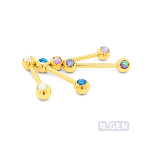 Gold Opal Nipple Ball Barbell-Gold Steel