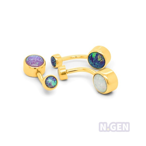 Gold Opal Drum Navel Ring-Gold Steel