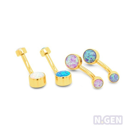 Gold Opal Mini Drum Navel Ring-Gold Steel