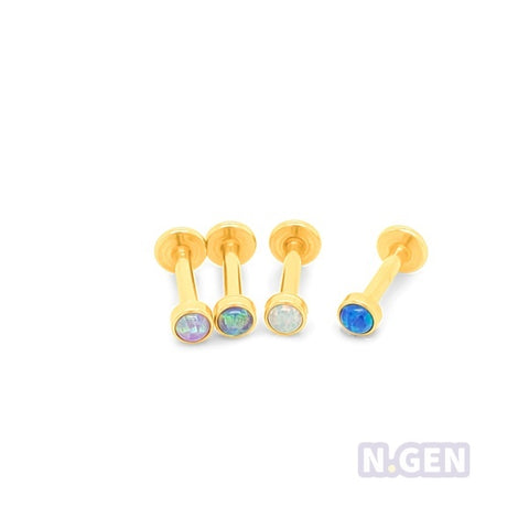 Gold  Opal Cabochon Set Labret-Gold Steel