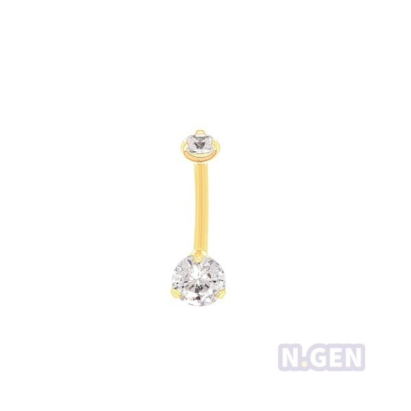 Gold Mini Prong Set Navel Ring AAA CZ-Gold Steel