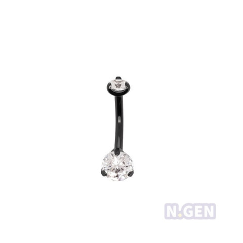 Mini Prong Set Navel Ring AAA CZ-316L S. Steel