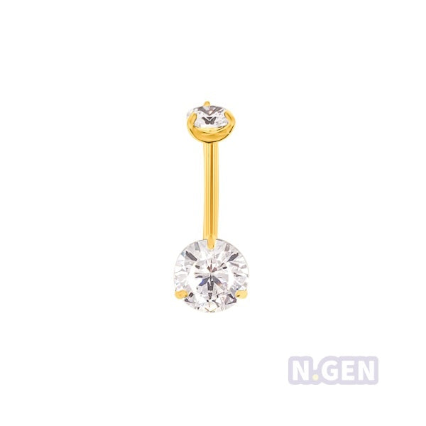 Gold Prong Set Navel Ring AAA CZ-Gold Steel