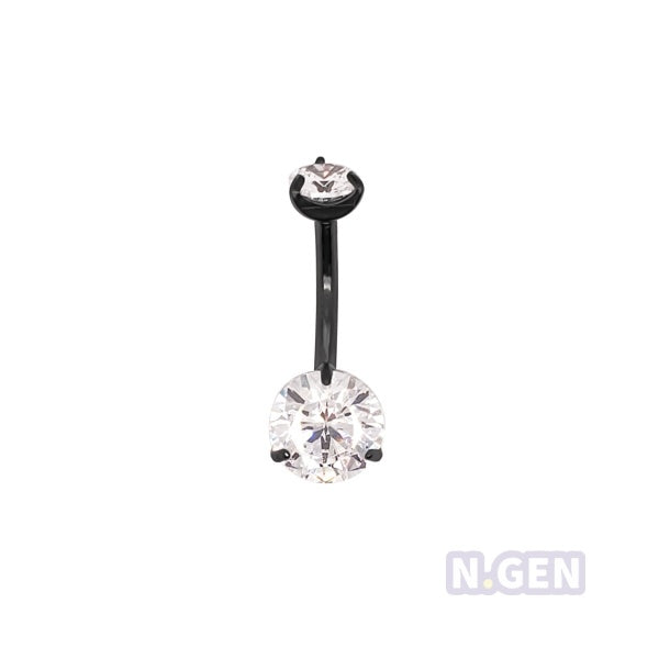 Prong Set Navel Ring AAA CZ-316L S. Steel