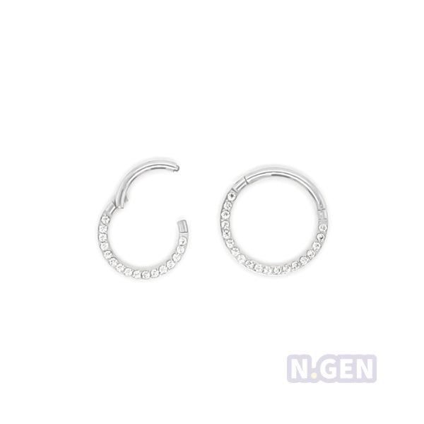 16g Hinged Segment See Front CZ set 316L Surgical Steel