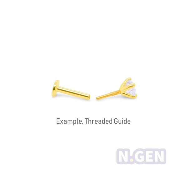 14K Gold  18g/16g CZ New Triangle Labret
