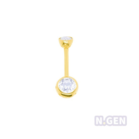 14K Gold 14g * 4 & 6mm Swarovski Double Jeweled Navel Ring