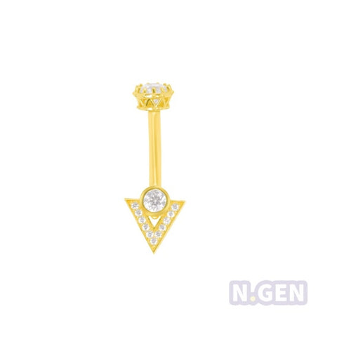 "14K Gold 14g * 3/8"" Swarovski Inverted Triangle Navel Ring"