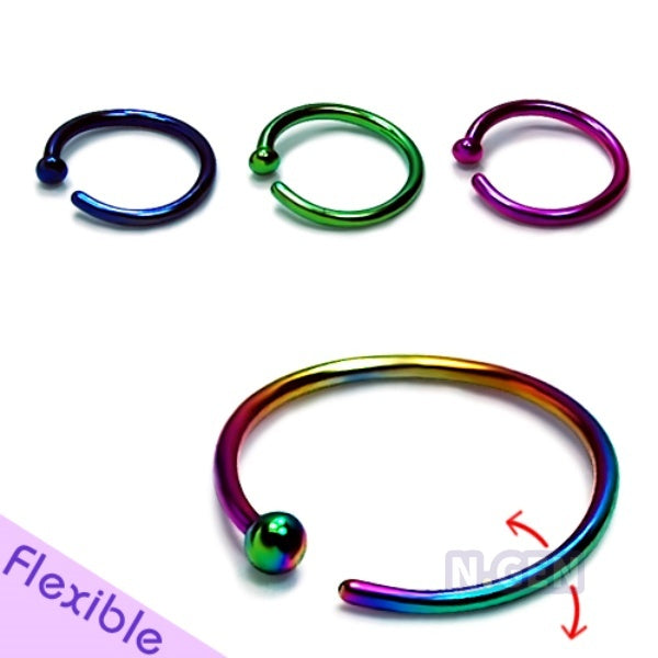 Color Nose Hoop with Ball 20g Flexible-Color Steel**3pcs/pack