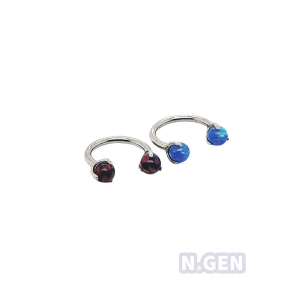 Internally Threaded Claw Set Opal Horseshoe 16g-F136 Eli Titanium