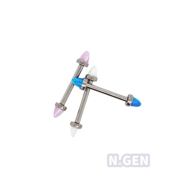 Internally Threaded Bullet Opal Nipple Barbell-F136 Eli Titanium