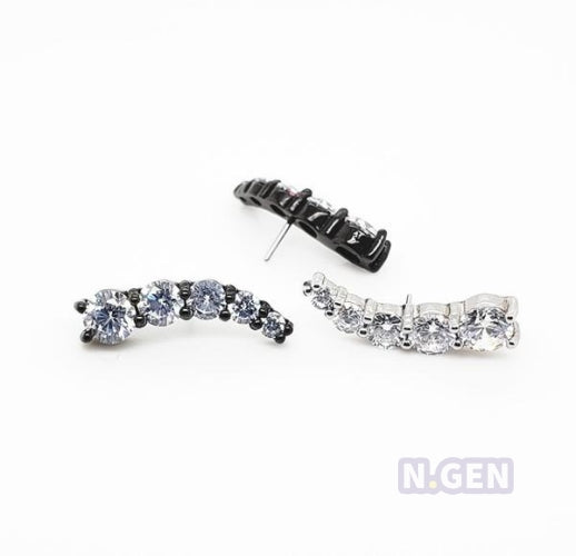 5cz Crescent Cluster with Push Pin for N.Gen® Threadless Shaft-316L S. Steel