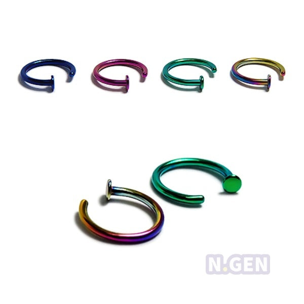 Color Steel Nose Hoop with Stopper 20g-316L S. Steel**3pcs/pack