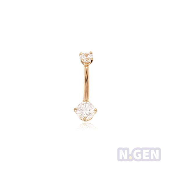"14K Gold 16g * 5/16"" *3&4 CZ Rook/Curved Jewelry-16g"