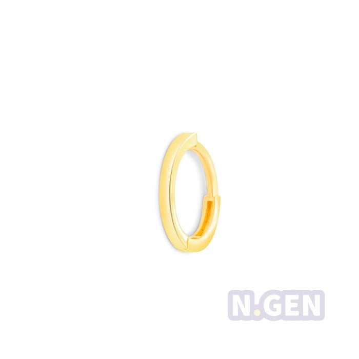 14Kt Gold Plain Hoop Earring, Square Shape