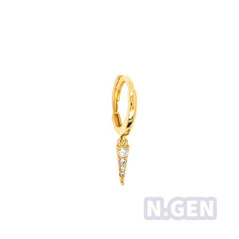 14Kt Gold Hoop Earring with Long Triangle Dangle