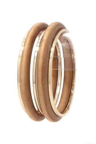 Wood Metal Bangle Bracelet Set
