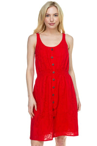 Floral Embroidered Sleeveless Dress in Red