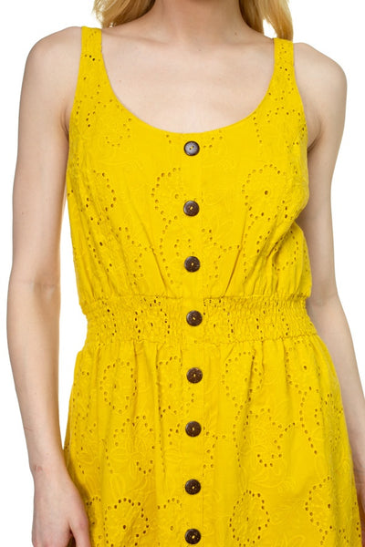Floral Embroidered Sleeveless Dress in Yellow