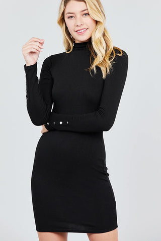 Black High Neck Knit Mini Dress