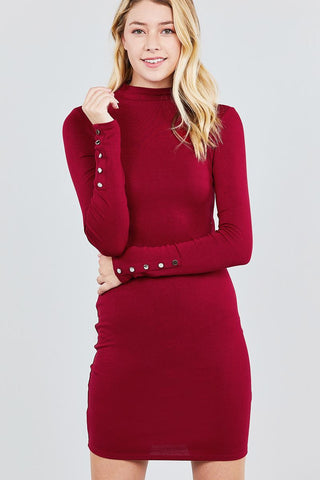 Wine High Neck Knit Mini Dress